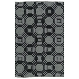 Indoor/Outdoor Laguna Grey and Black Geo Flat-Weave Rug (9'0 x 12'0)