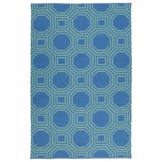 Indoor/Outdoor Laguna Blue and Turquoise Geo Flat-Weave Rug (8'0 x 10'0)