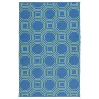 Indoor/Outdoor Laguna Blue and Turquoise Geo Flat-Weave Rug (9'0 x 12'0)