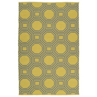 Indoor/Outdoor Laguna Yellow and Grey Geo Flat-Weave Rug (9'0 x 12'0)