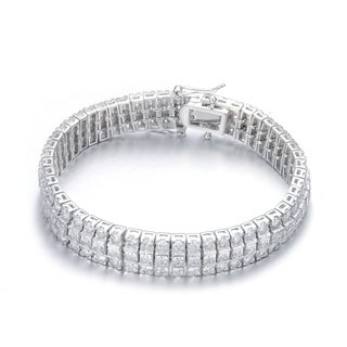 Collette Z Sterling Silver Cubic Zirconia Princess-cut Bracelet