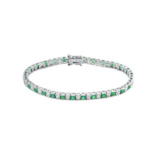 Collette Z Sterling Silver Green and White Cubic Zirconia Princess-cut Tennis Bracelet