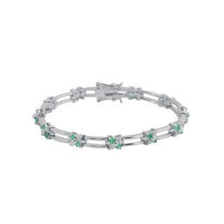 Collette Z Sterling Silver Green and White Cubic Zirconia Flower Design Bracelet