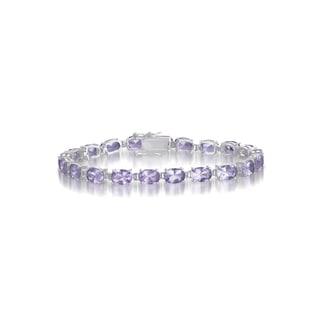 Collette Z Sterling Silver Lavender Cubic Zirconia Oval-cut Bracelet