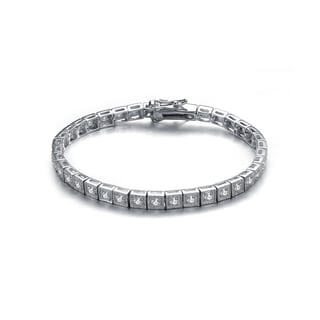 Collette Z Sterling Silver Cubic Zirconia Princess-cut Tennis Bracelet