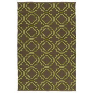 Indoor/Outdoor Laguna Brown and Avacado Geo Flat-Weave Rug (8'0 x 10'0)