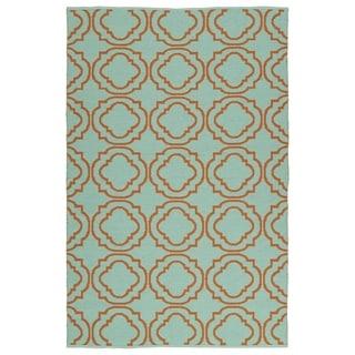 Indoor/Outdoor Laguna Turquoise and Orange Geo Flat-Weave Rug (3'0 x 5'0)