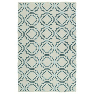 Indoor/Outdoor Laguna Ivory and Teal Geo Flat-Weave Rug (9'0 x 12'0)