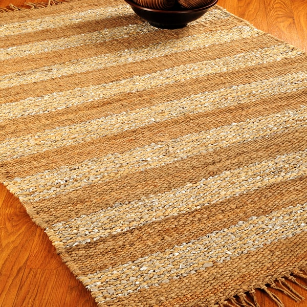 Natural Area Rugs Hand-loomed New Vision Jute Leather Rug (8' x 10')