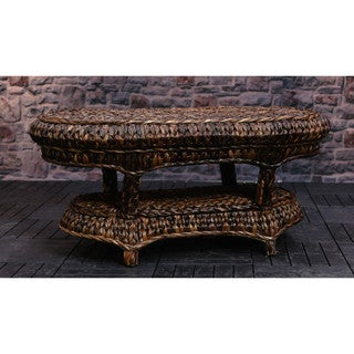 Somette 41-inch Rattan Indoor/Outdoor Oval Cocktail Table (Philippines)