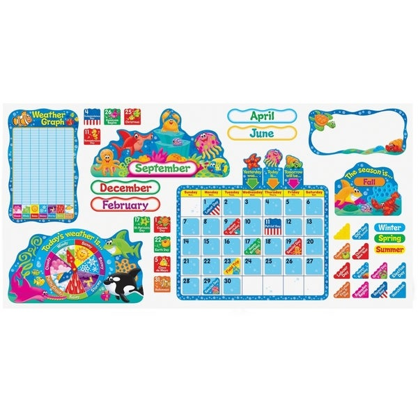 TREND Sea Buddies Calendar Bulletin Board Set 105 Pieces/Kit