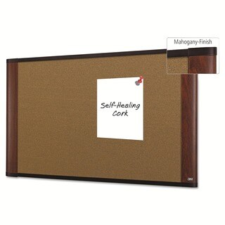 3M Mahogany Frame Cork Bulletin Board