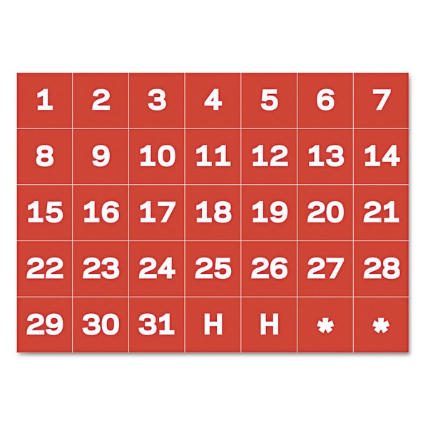 MasterVision Red/White Calendar Magnetic Tape (2 Packs of 35 Magnetic Tapes)