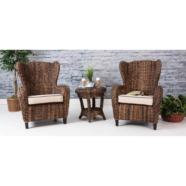 Somette 3-piece Rattan Indoor/ Outdoor Sloped Arm Chair and Table Set