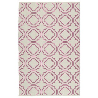 Indoor/Outdoor Laguna Ivory and Pink Geo Flat-Weave Rug (9'0 x 12'0)