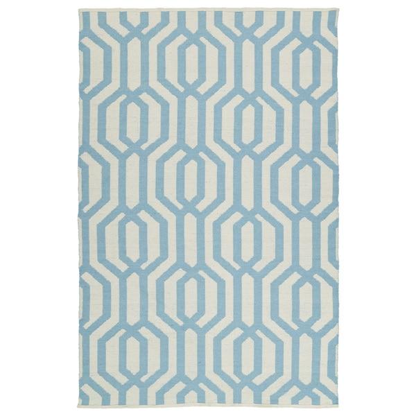 Indoor/Outdoor Laguna Ivory and Spa Blue Geo Flat-Weave Rug (8'0 x 10'0)