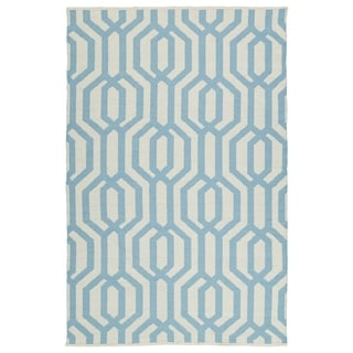 Indoor/Outdoor Laguna Ivory and Spa Blue Geo Flat-Weave Rug (8'0 x 10'0)