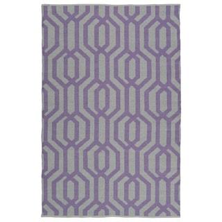 Indoor/Outdoor Laguna Grey and Lilac Geo Flat-Weave Rug (8'0 x 10'0)