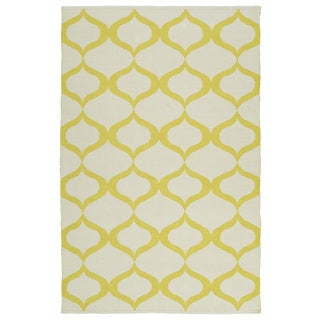 Indoor/Outdoor Laguna Ivory and Yellow Geo Flat-Weave Rug (9'0 x 12'0)
