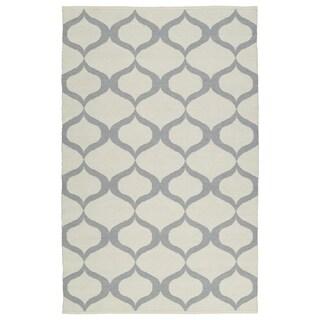 Indoor/Outdoor Laguna Ivory and Grey Geo Flat-Weave Rug (8'0 x 10'0)