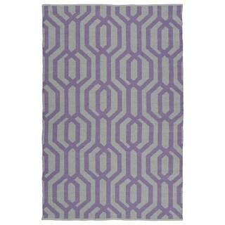 Indoor/Outdoor Laguna Grey and Lilac Geo Flat-Weave Rug (3'0 x 5'0)