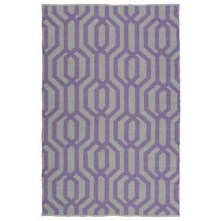 Indoor/Outdoor Laguna Grey and Lilac Geo Flat-Weave Rug (9'0 x 12'0)