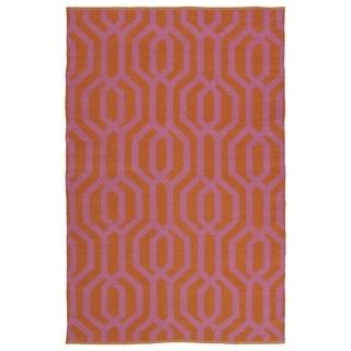 Indoor/Outdoor Laguna Paprika and Pink Geo Flat-Weave Rug (8'0 x 10'0)