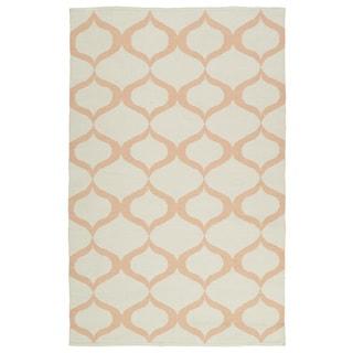 Indoor/Outdoor Laguna Ivory and Pink Geo Flat-Weave Rug (9'0 x 12'0)