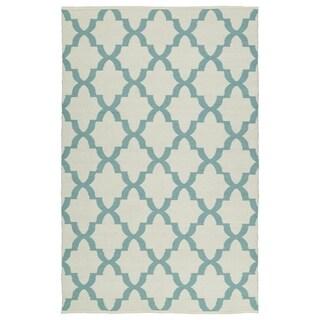 Indoor/Outdoor Laguna Ivory and Seafoam Trellis Flat-Weave Rug (8'0 x 10'0)