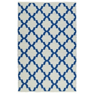 Indoor/Outdoor Laguna Ivory and Navy Trellis Flat-Weave Rug (8'0 x 10'0)