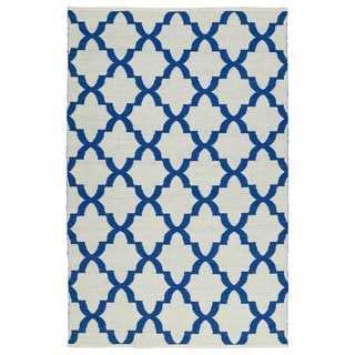 Indoor/Outdoor Laguna Ivory and Navy Trellis Flat-Weave Rug (9'0 x 12'0)