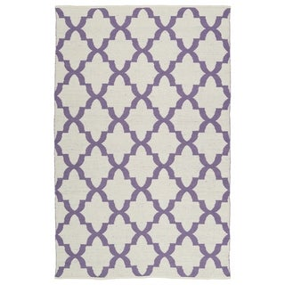 Indoor/Outdoor Laguna Ivory and Lilac Trellis Flat-Weave Rug (8'0 x 10'0)