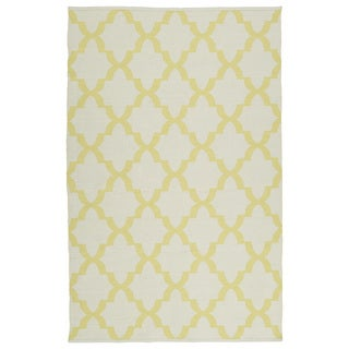 Indoor/Outdoor Laguna Ivory and Yellow Trellis Flat-Weave Rug (9'0 x 12'0)