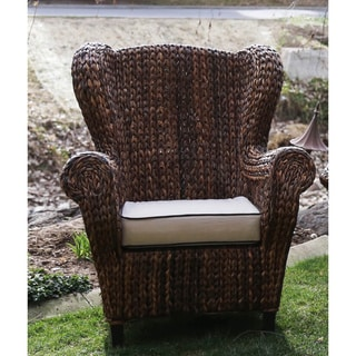 Somette Rattan Indoor/ Outdoor Rolled Arm Wingback Club Chair (Philippines)