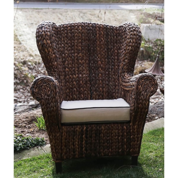Somette Rattan Indoor Outdoor Rolled Arm Wingback Club