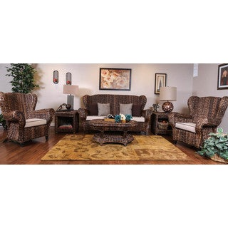 Somette Indoor/Outdoor Rattan Rolled Arm 6 Piece Set