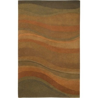 Rizzy Home Rust/ Burgundy Colours Collection Hand-Tufted New Zealand Wool Accent Rug (8' x 10')