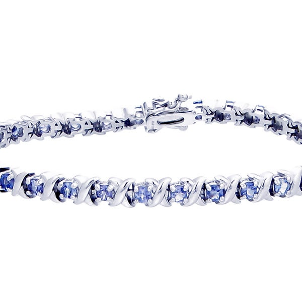 Sterling Silver and 2.40 CT Tanzanite Bracelet