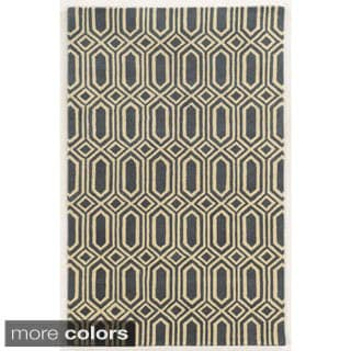 Rizzy Home Blue/ White/ Grey/ Gold Julian Pointe Collection 100-percent Wool Hand-Hand-Tufted Accent Rug (9' x 12')