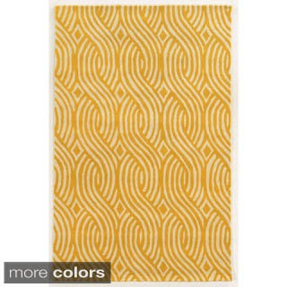 Rizzy Home Ivory/ White/ Blue/ Red/ Green/ Gold Julian Pointe Collection 100-percent Wool Hand-Hand-Tufted Accent Rug (8' x 10')