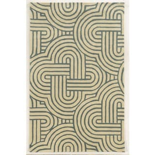 Rizzy Home Ivory Julian Pointe Collection 100-percent Wool Hand-Hand-Tufted Accent Rug (9' x 12')