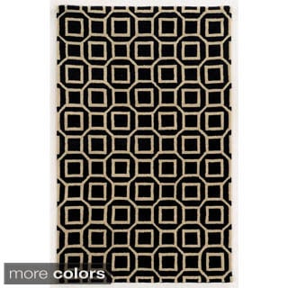 Rizzy Home Ivory/ Black/ Gold/ Rust Julian Pointe Collection 100-percent Wool Hand-Hand-Tufted Accent Rug (9' x 12')