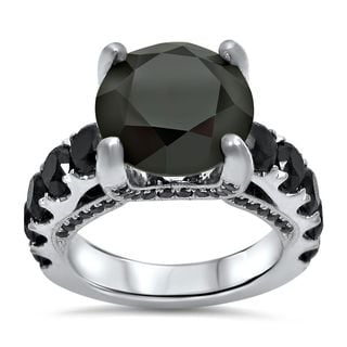 Noori 14k White Gold 6 1/5ct TDW Black Round Diamond Engagement Ring (VVS1-VVS2)