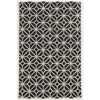 Rizzy Home Navy Julian Pointe Collection 100-percent Wool Hand-Hand-Tufted Accent Rug (9' x 12')