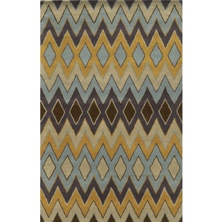Rizzy Home Gold Pierre Collection 100-percent Wool Hand-Hand-Tufted Accent Rug (9' x 12')