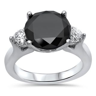 Noori 18k White Gold 4 1/2 CT Black Round-cut Diamond Engagement Ring