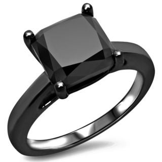 Noori 14k Black Rhodium Plated Gold 3 CT Black Cushion-cut Diamond Engagement Ring (VVS1-VVS2)
