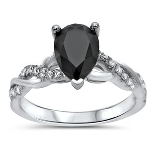 Noori 14k White Gold 1 1/3ct TDW Black Pear-shape Diamond Engagement Ring (VVS1-VVS2)