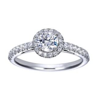 14k White Gold Cubic Zirconia and 1/4ct TDW Diamond Halo Semi-mount Engagement Ring (H-I, I1-I2)