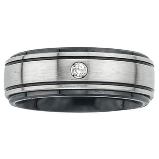 Ceramic and Stainless Steel Men's Diamond Accent Wedding Band